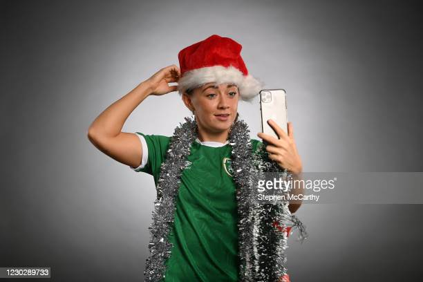 Dublin , Ireland - 24 December 2020; Republic of Ireand's Katie McCabe poses in a Christmas hat during a portrait session at the Castleknock Hotel in...
