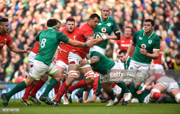 Dublin Ireland 24 February 2018 Aaron Shingler of Wales is tackled by Andrew Porter of Ireland during the NatWest Six Nations Rugby Championship...