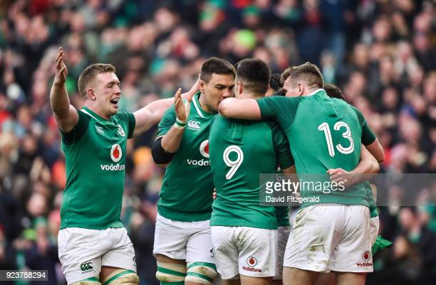 Dublin Ireland 24 February 2018 Dan Leavy left of Ireland runs in to celebrate with team mates after Jacob Stockdale scored their side's fifth try...