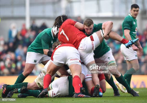 Dublin Ireland 24 February 2018 Dan Leavy of Ireland in action against Josh Navidi of Wales during the NatWest Six Nations Rugby Championship match...