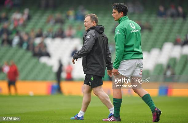 Dublin Ireland 24 February 2018 Ireland kicking coach Richie Murphy left with Joey Carbery prior to the NatWest Six Nations Rugby Championship match...