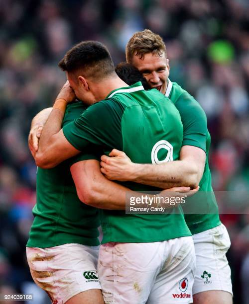 Dublin Ireland 24 February 2018 Ireland's Jacob Stockdale celebrates with teammates Conor Murray and Chris Farrell right after scoring his side's...