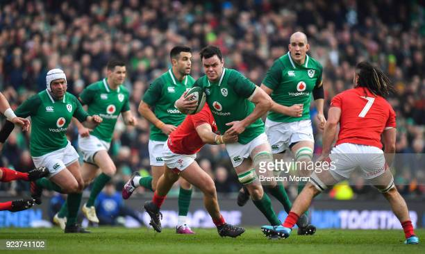 Dublin Ireland 24 February 2018 James Ryan of Ireland is tackled by Ross Moriarty of Wales during the NatWest Six Nations Rugby Championship match...