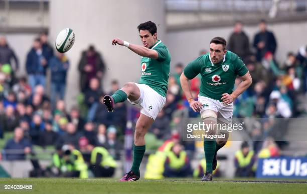 Dublin Ireland 24 February 2018 Joey Carbery of Ireland kicks a restart during the NatWest Six Nations Rugby Championship match between Ireland and...