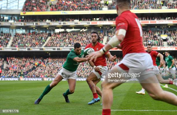 Dublin Ireland 24 February 2018 Josh Navidi of Wales beats the cover of Rob Kearney of Ireland passing to teammate Steff Evans for him to score their...