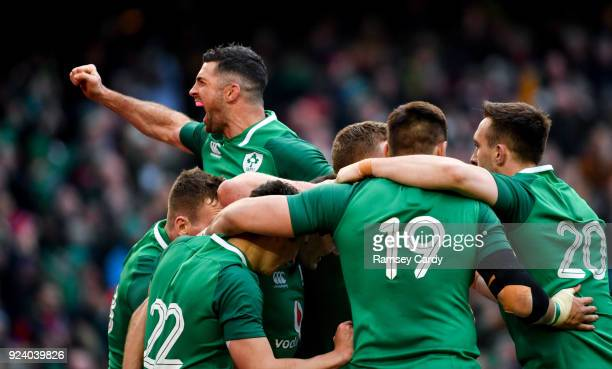 Dublin Ireland 24 February 2018 Rob Kearney of Ireland celebrates a try by Jacob Stockdale during the NatWest Six Nations Rugby Championship match...