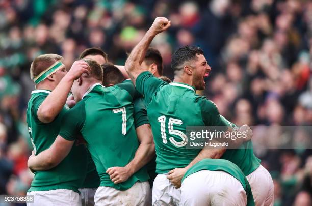 Dublin Ireland 24 February 2018 Rob Kearney of Ireland celebrates after Jacob Stockdale scored their side's fifth try during the NatWest Six Nations...