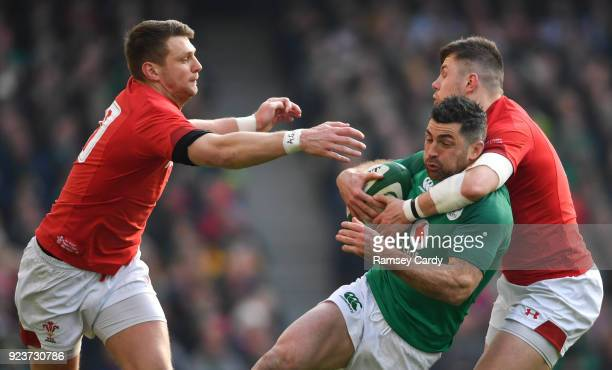 Dublin , Ireland - 24 February 2018; Rob Kearney of Ireland is tackled by Steff Evans of Wales during the NatWest Six Nations Rugby Championship...