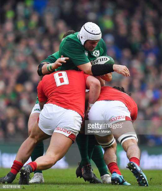Dublin Ireland 24 February 2018 Rory Best of Ireland is tackled by Ross Moriarty and Josh Navidi of Wales during the NatWest Six Nations Rugby...