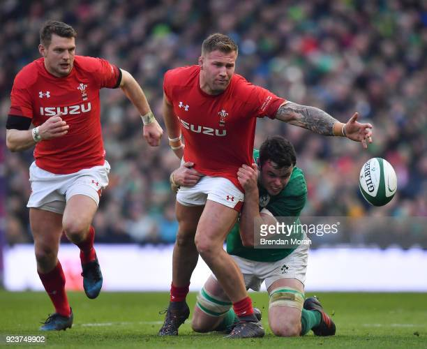 Dublin Ireland 24 February 2018 Ross Moriarty of Wales is tackled by James Ryan of Ireland during the NatWest Six Nations Rugby Championship match...