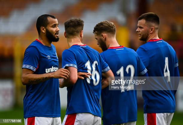 Dublin , Ireland - 24 July 2020; Ethan Boyle of Linfield organises the wall during the club friendly match between Shelbourne and Linfield at Tolka...