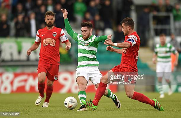 Dublin Ireland 24 June 2016 Brandon Miele of Shamrock Rovers is tackled by Steven Beattie of Cork City during the SSE Airtricity League Premier...