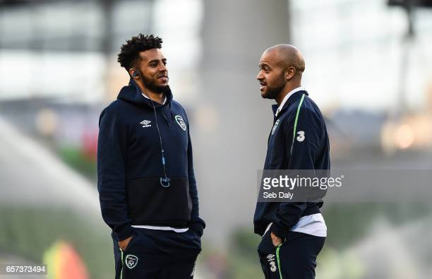 Dublin Ireland 24 March 2017 Cyrus Christie left and Darren Randolph of Republic of Ireland ahead of the FIFA World Cup Qualifier Group D match...