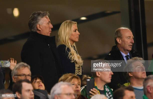 Dublin Ireland 24 March 2017 FAI Chief Executive John Delaney with his partner Emma English and Irish Minister for Transport Tourism and Sport Shane...