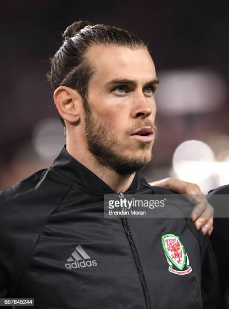 Dublin Ireland 24 March 2017 Gareth Bale of Wales prior to the FIFA World Cup Qualifier Group D match between Republic of Ireland and Wales at the...