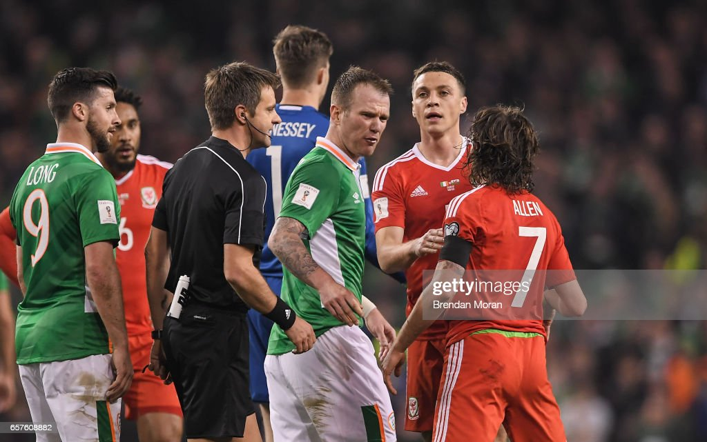 Dublin , Ireland - 24 March 2017; Glenn Whelan of Ireland reacts to Joe Allen of Wales during FIFA World Cup Qualifier Group D match between Republic of Ireland and Wales at the Aviva Stadium in Dublin.