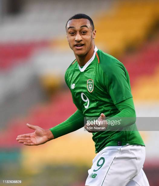 Dublin Ireland 24 March 2019 Adam Idah of Republic of Ireland celebrates after scoring his side's third goal of the game during the UEFA European U21...