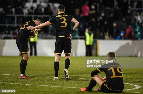 Dublin Ireland 24 November 2016 Dundalk players from left Robbie Benson Brian Gartland and Dean Shiels at the end of the UEFA Europa League Group D...
