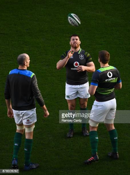 Dublin Ireland 24 November 2017 Sean O'Brien centre Devin Toner left and Iain Henderson during Ireland rugby captain's run at the Aviva Stadium in...