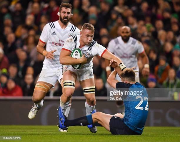 Dublin , Ireland - 24 November 2018; Hanco Germishuys of USA in action against Ross Byrne of Ireland during the Guinness Series International match...