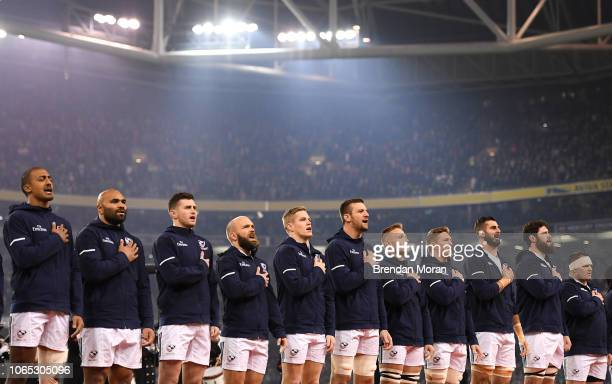 Dublin Ireland 24 November 2018 The USA team stand for their national anthem prior to the Guinness Series International match between Ireland and USA...