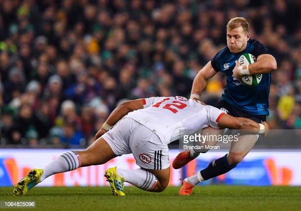 Dublin Ireland 24 November 2018 Will Addison of Ireland is tackled by Paul Lasike of USA during the Guinness Series International match between...
