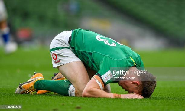 Dublin , Ireland - 24 October 2020; Garry Ringrose of Ireland goes down with an injury before leaving the pitch during the Guinness Six Nations Rugby...
