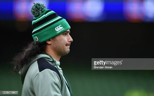Dublin , Ireland - 24 October 2020; James Lowe of Ireland prior to the Guinness Six Nations Rugby Championship match between Ireland and Italy at the...