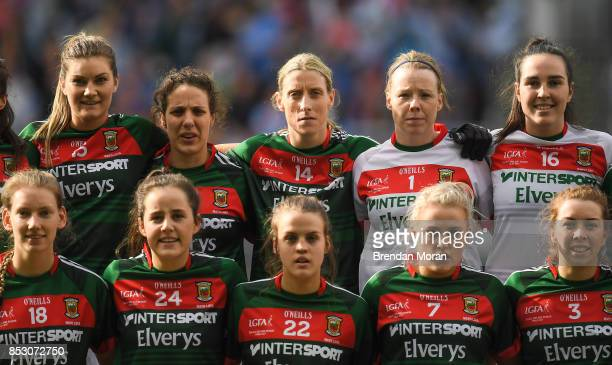 Dublin Ireland 24 September 2017 Cora Staunton of Mayo stands with her teammates during the team photo prior to the TG4 Ladies Football AllIreland...