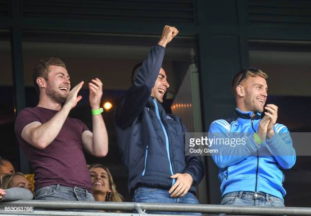 Dublin Ireland 24 September 2017 Dublin Senior Footballers from left Jack McCaffrey James McCarthy and Jonny Cooper celebrate during the TG4 Ladies...