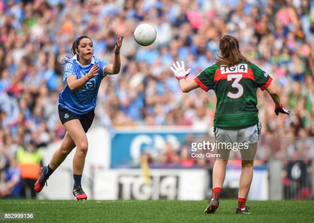 Dublin Ireland 24 September 2017 Sinéad Goldrick of Dublin in action against Sarah Tierney of Mayo during the TG4 Ladies Football AllIreland Senior...