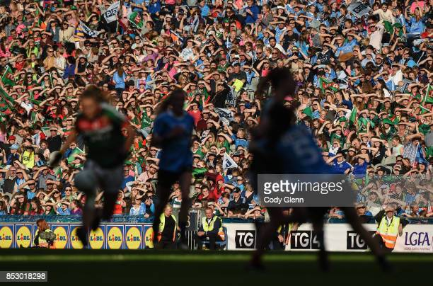 Dublin Ireland 24 September 2017 Spectators follow the match from the Cusack stand during the TG4 Ladies Football AllIreland Senior Championship...