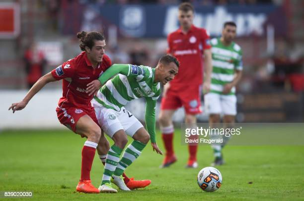 Dublin Ireland 25 August 2017 Graham Burke of Shamrock Rovers in action against Adam Evans of Shelbourne during the Irish Daily Mail FAI Cup Second...