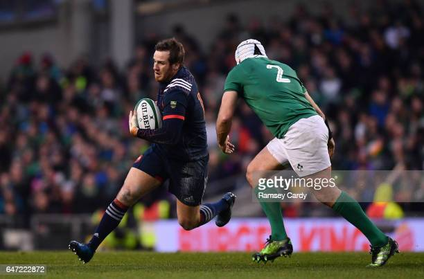 Dublin Ireland 25 February 2017 Camille Lopez of France in action against Rory Best of Ireland during the RBS Six Nations Rugby Championship game...