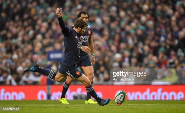 Dublin Ireland 25 February 2017 Camille Lopez of France kicks a penalty during the RBS Six Nations Rugby Championship game between Ireland and France...