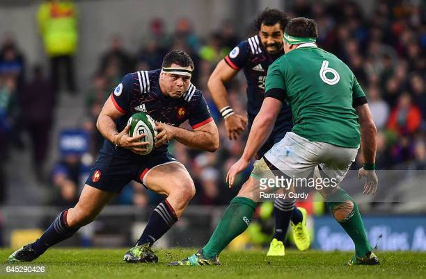 Dublin Ireland 25 February 2017 Guilhem Guirado of France in action against CJ Stander of Ireland during the RBS Six Nations Rugby Championship game...