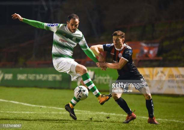 Dublin , Ireland - 25 February 2019; Joey O'Brien of Shamrock Rovers in action against Keith Buckley of Bohemians during the SSE Airtricity League...
