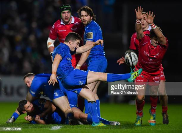 Dublin Ireland 25 January 2019 Hugh OSullivan of Leinster in action against Dan Jones of Scarlets during the Guinness PRO14 Round 14 match between...