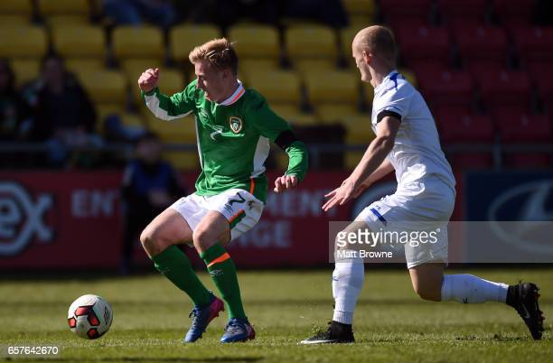 Dublin Ireland 25 March 2017 Harry Charsley of Republic of Ireland in action against Arian Kabashi of Kosovo during the UEFA U21 Championships...