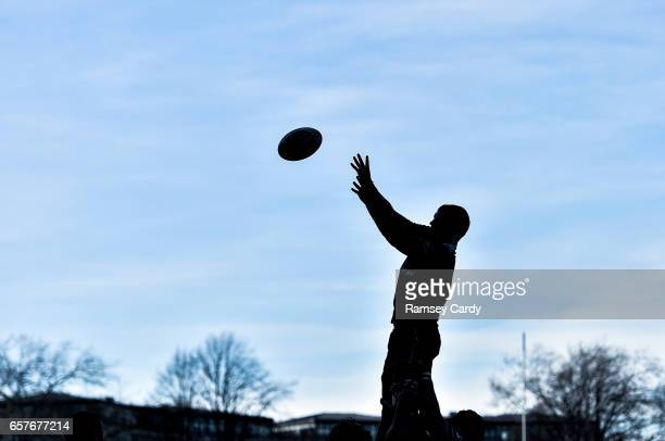 Dublin Ireland 25 March 2017 Ross Molony of Leinster wins possession in a lineout during the Guinness PRO12 Round 18 game between Leinster and...
