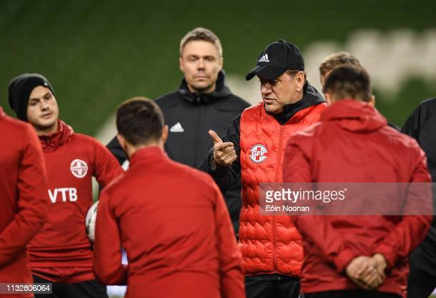 Dublin Ireland 25 March 2019 Georgia manager Vladimír Weiss speaking to his players during squad training at the Aviva Stadium in Dublin
