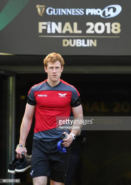 Dublin Ireland 25 May 2018 Rhys Patchell during the Scarlets captains run at the Aviva Stadium in Dublin