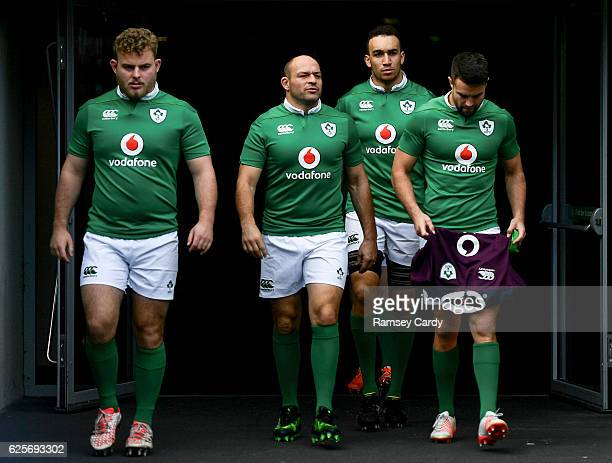 Dublin , Ireland - 25 November 2016; Ireland players, from left, Finlay Bealham, Rory Best, Ultan Dillane and Conor Murray ahead of the captain's run...