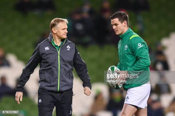 Dublin Ireland 25 November 2017 Ireland head coach Joe Schmidt and Jonathan Sexton prior to the start of the Guinness Series International match...
