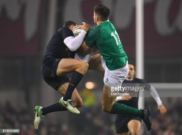 Dublin Ireland 25 November 2017 Jacob Stockdale of Ireland in action against Emiliano Boffelli of Argentina during the Guinness Series International...