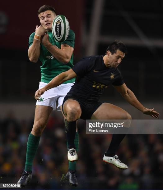 Dublin Ireland 25 November 2017 Jacob Stockdale of Ireland in action against Santiago Gonzalez Iglesias of Argentina during the Guinness Series...