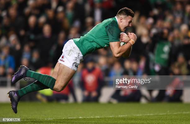 Dublin Ireland 25 November 2017 Jacob Stockdale of Ireland scores his side's first try during the Guinness Series International match between Ireland...