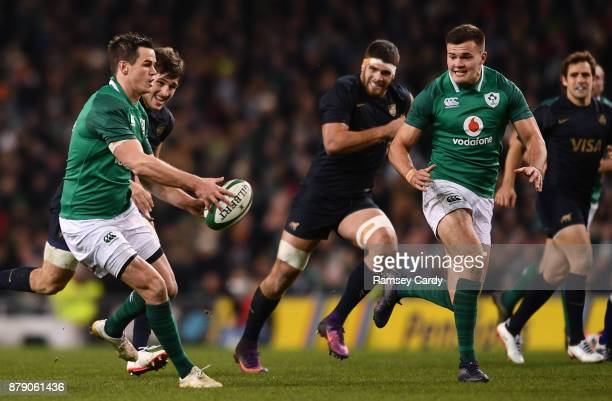 Dublin Ireland 25 November 2017 Jonathan Sexton left passes to teammate Jacob Stockdale of Ireland to setup their side's first try during the...