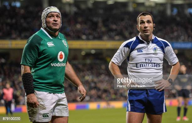 Dublin Ireland 25 November 2017 Referee Mathieu Raynal watches the big screen replay of Argentina's second try scored by Juan Manuel Leguizamon...