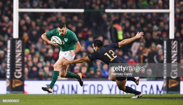 Dublin Ireland 25 November 2017 Rob Kearney of Ireland is tackled by Santiago Gonzalez Iglesias of Argentina during the Guinness Series International...